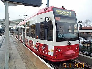 Tramlink - Tram 2545 in original livery at Beckenham Junction in 2001.
