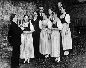 Maria von Trapp - Trapp Family Singers preparing for a concert in Boston in 1941.
