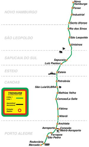 Porto Alegre Trensurb Station Map