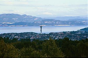 Tyholttårnet - Tyholttårnet, or Tyholt Tower, as seen from Lian. Trondheim Fjord in the background.