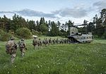 Troops from 3 PARA and 11e Brigade Parachutiste board a Chinook Helicopter of 18 Squadron during Exercise Swift Responce. MOD 45160134.jpg