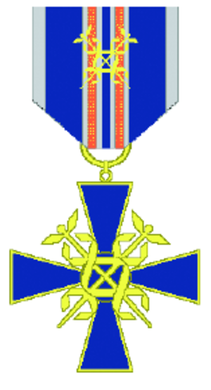 Orders, decorations, and medals of Finland - The cross of merit of customs service with a clasp, a typical Finnish branch-specific cross of merit. The cross is awarded by the minister responsible for customs for distinguished service or contributions to the customs service. A cross with a clasp may be awarded in special cases.