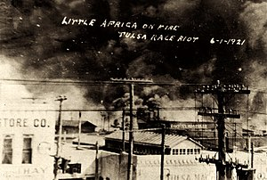 Tulsa race riot - Fires burning along Archer and Greenwood during the Tulsa race riot of 1921