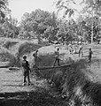 Twee militairen steken een beek of sloot over via een boomstam terwijl anderen…, Bestanddeelnr 15815.jpg