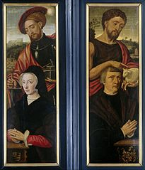 Two wings of a triptych, with the portraits of a man and a woman, accompanied respectively by John the Baptist and St. Adrianus