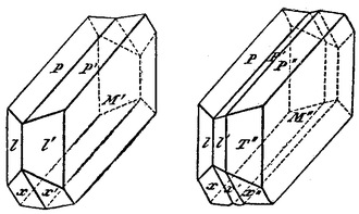 Crystal twinning - Diagram of twinned crystals of Albite. On the more perfect cleavage, which is parallel to the basal plane (P), is a system of fine striations, parallel to the second cleavage (M).