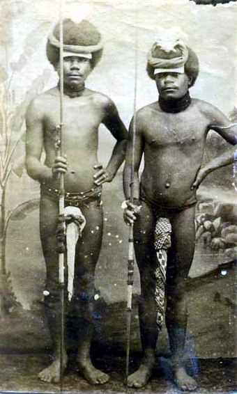 Two Kanak warriors posing with penis gourds and spears, around 1880 Two Kanak (Canaque) warriors posing with penis gourds and spears, New Caledonia.jpg