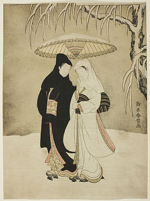 Suzuki Harunobu - Couple under umbrella in snow