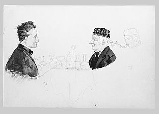 Two Men at a Table, Man Eating (from Switzerland 1869 Sketchbook)