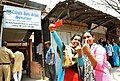 Two female voters taking selfie of the mark of indelible ink after casting their votes, at a polling booth, during the fifth phase of West Bengal Assembly Election, at Sonarpur (south), South 24 Pargana, West Bengal.jpg