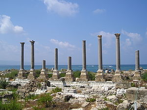 Tyre, Lebanon - Remains of ancient columns at Al Mina excavation site – supposed palaestra