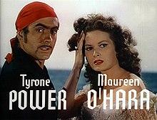 Tyrone Power con Maureen O'Hara ne Il cigno nero (1942)