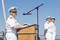 U.S. Navy Cmdr. Tadd Gorman, the commanding officer of the guided missile destroyer USS Ross (DDG 71), talks about the importance of remembrance and sacrifice during a 9-11 remembrance ceremony Sept 140911-N-IY142-018.jpg