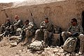 U.S. Soldiers with the 3rd Platoon, Charger Company, 1st Battalion, 5th Infantry Regiment break for lunch at Checkpoint Molla Dust April 1, 2012, in Panjwai district, Kandahar province, Afghanistan 120401-N-BS894-135.jpg