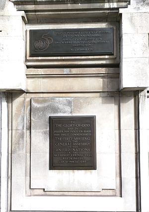 History of the United Nations - Plaques unveiled in 1996 to commemorate the first meeting of the General Assembly