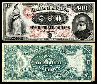Large denominations of United States currency - Image: US $500 LT 1875 Fr 185b