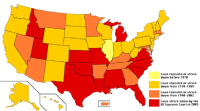 US sodomy laws by the year when they were repealed or struck down. Lighter is earlier; darker is later.