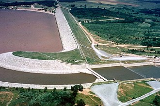Alfalfa County, Oklahoma - Aerial view to the northwest of the Great Salt Plains Lake Dam on the Salt Fork of the Arkansas River in Alfalfa County, OK. The dam was constructed by the U.S. Army Corps of Engineers.