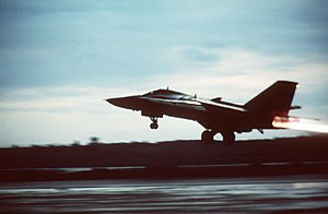 1986 United States bombing of Libya - An American 48th Tactical Fighter Wing F-111F aircraft takes off from RAF Lakenheath in April 1986 to participate in an air strike against Libya.