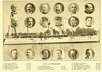 USS Raleigh (C-8) - USS Raleigh (C-8) and her officers in 1898.