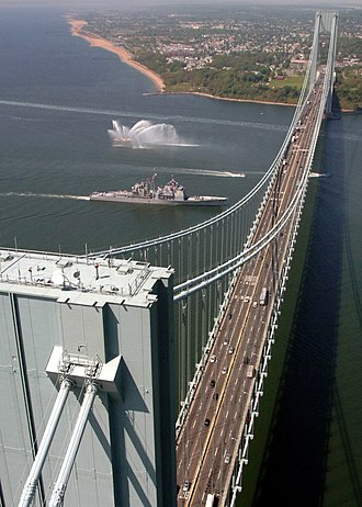 Verrazzano-Narrows Bridge - Looking west toward Staten Island in 2008, before the addition of a seventh lane on the upper level