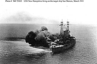 USS New Hampshire (BB-25) - Firing a broadside at San Marcos in March 1911