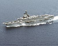 USS Saratoga (CV-60) underway in the Adriatic Sea on 29 July 1992 (6480624).jpg