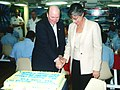 US Navy 030519-N-3399W-001 he Honorable Hansford T. Johnson, acting Secretary of the Navy (SECNAV), and Hawaii Gov. Linda Lingle cut a cake aboard the guided missile cruiser USS Lake Erie (CG 70).jpg