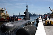 US Navy 050330-N-0507C-001 Crew members assigned to USS Underwood (FFG 36) assist the crew of the Colombian Navy submarine Pijao (SO 28) to pull in on board Naval Station Mayport, Fla
