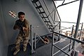 US Navy 050704-N-4309A-071 Iraqi military members practice maneuvering from a point of entry to the bridge aboard the amphibious dock landing ship USS Ashland (LSD 48) while embarked for a series of drills and training exercise.jpg