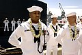 US Navy 070505-N-3642E-626 Sailors man the ship and officially bring the newest Virginia-class nuclear attack submarine USS Hawaii (SSN 776).jpg