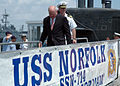 US Navy 070606-N-9588L-002 Mayor of the city of Norfolk Honorable Paul D. Fraim and commanding officer Cmdr. Scott Adams board USS Norfolk (SSN 714) during a tour of the nuclear fast attack submarine.jpg