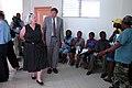 US Navy 070903-N-6020F-127 U.S. Ambassador to Haiti Janet Sanderson and U.S. Embassy Public Affairs Officer James Ellickson-Brown visit Centre Hospitalier Eliazar Germain in Pétion-Ville.jpg