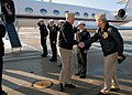 US Navy 080108-N-6159A-001 Capt. George G. Womack, commanding officer of Naval Air Station Brunswick, greets Chief of Naval Operations (CNO) Adm. Gary Roughead on the flight line at NAS Brunswick.jpg