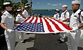 US Navy 080819-N-7974M-004 Sailors fold an American flag during a scattering of ashes ceremony for 89-year-old Pearl Harbor survivor, Major Edward Wheeler.jpg