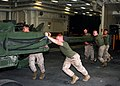 US Navy 081012-N-6764G-119 Marines assigned to the 26th Marine Expeditionary Unit (MEU) work aboard the amphibious transport dock ship USS San Antonio (LPD 17).jpg