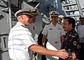 US Navy 081124-N-5476H-008 Adm. Robert F. Willard and Rear Adm. Dixon R. Smith greet his majesty Bolkiah Hassanal.jpg