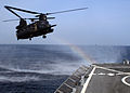 US Navy 090921-N-5126F-006 An MH-47 Chinook helicopter assigned to the 160th Special Operations Aviation Regiment (Airborne) approaches the guided-missile destroyer USS Higgins (DDG 76) to conduct a fast-rope evolution.jpg