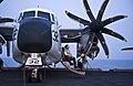 US Navy 110902-N-GC412-198 Aviation Structural Mechanic 3rd Class John Coughlin relaxes for a moment on a C-2A Greyhound aboard USS John C. Stennis.jpg