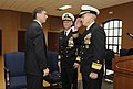 US Navy 111117-N-PO203-359 Rear Adm. Matthew Klunder, incoming chief of naval research, salutes Sean J. Stackley, assistant secretary of the Navy f.jpg