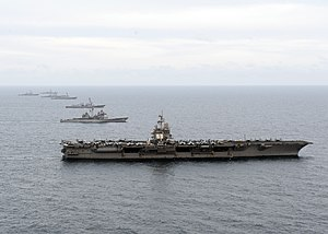 US Navy 120123-N-JL826-286 The Enterprise Carrier Strike Group maneuvers into formation.jpg