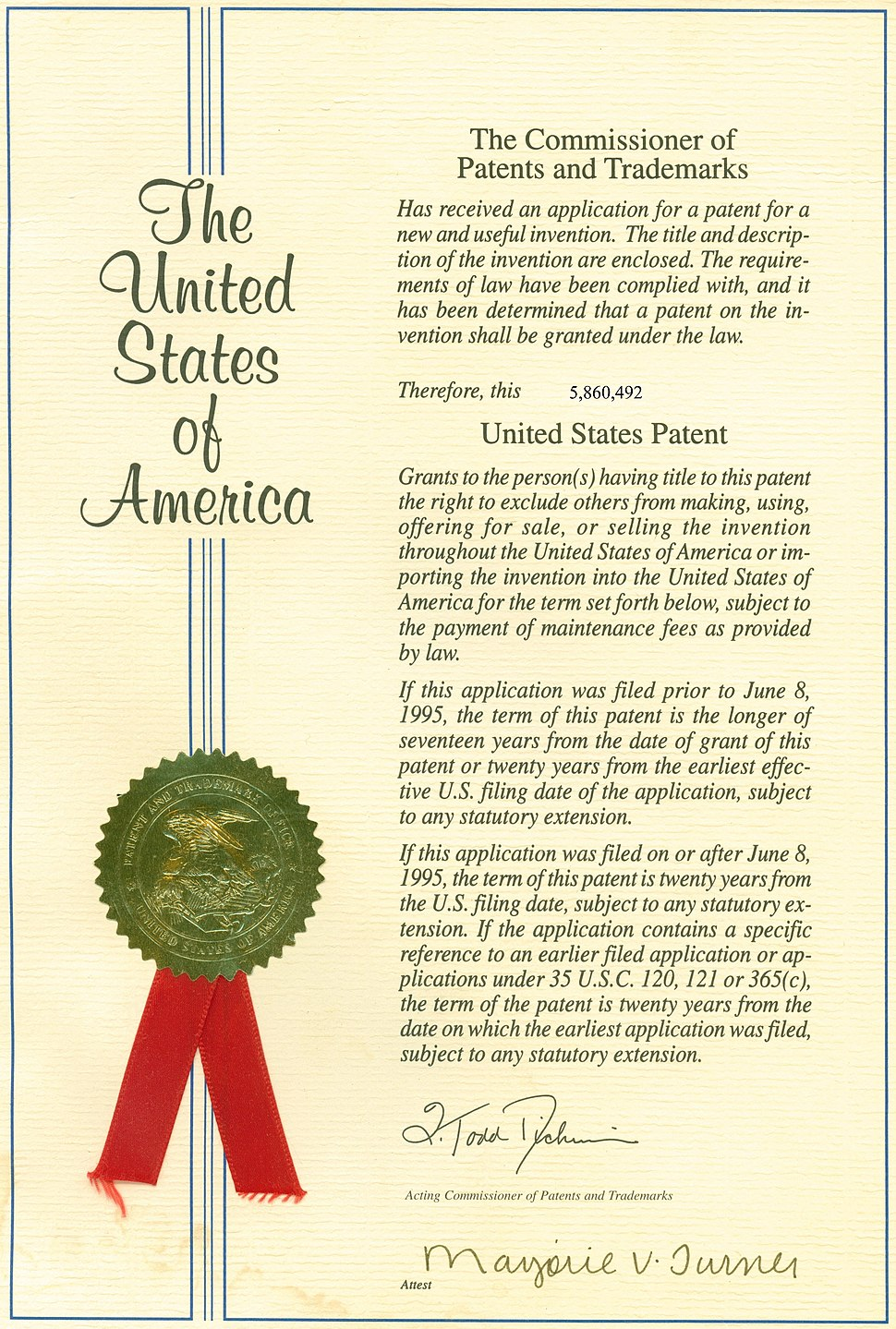US Patent cover