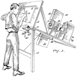 Rotoscoping - Patent drawing for Max Fleischer's original rotoscope. The artist is drawing on a transparent easel, onto which the movie projector at the right is beaming an image of a single movie frame.