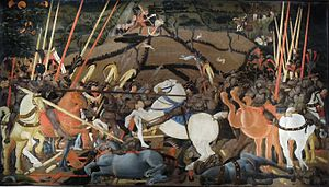 Paolo Uccello - The Battle of San Romano, c. 1450s, one of three panels. Egg tempera with walnut oil and linseed oil on poplar. 181.6 x 320 cm. Uffizi.