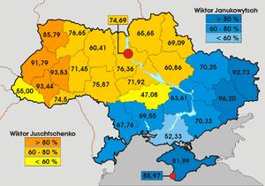 Wyniki drugiej tury - oficjalni zwycięzcy w poszczególnych obwodach  Uwaga: Wyniki te zostały uznane za fałszywe przez Sąd Najwyższy Ukrainy.  Mapa jest dołączona tylko w celach informacyjnych