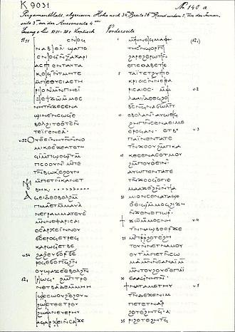 Luke 12 - Image: Uncial 0191 (K. 9031)