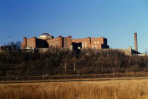 "United States Disciplinary Barracks - A view of the old United States Disciplinary Barracks dubbed ""The Castle"" or ""Little Top"" before it was torn down."