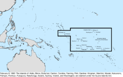 Map of the change to the United States in the Pacific Ocean on February 8, 1860