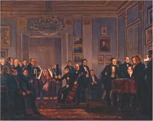 Christian Waagepetersen - A music soirée painted by Wilhelm Marstrand