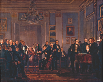 Christian Waagepetersen - A music soirée painted by Wilhelm Marstrand